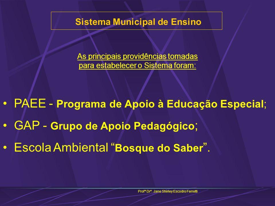 Sistema Municipal de Ensino Profª Drª. Jane Shirley Escodro Ferretti As principais providências tomadas para estabelecer o Sistema foram: PAEE - Progr