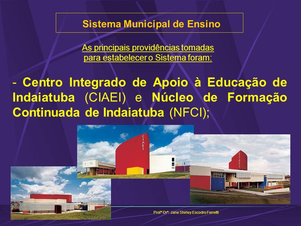 Sistema Municipal de Ensino Profª Drª. Jane Shirley Escodro Ferretti As principais providências tomadas para estabelecer o Sistema foram: - Centro Int
