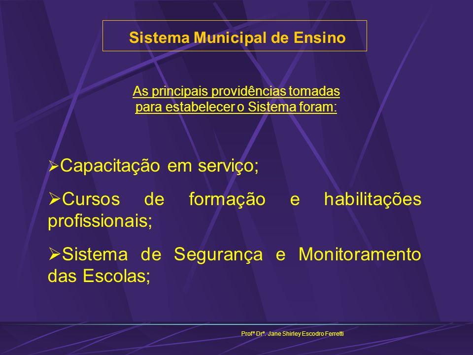 Sistema Municipal de Ensino Profª Drª. Jane Shirley Escodro Ferretti As principais providências tomadas para estabelecer o Sistema foram: Capacitação