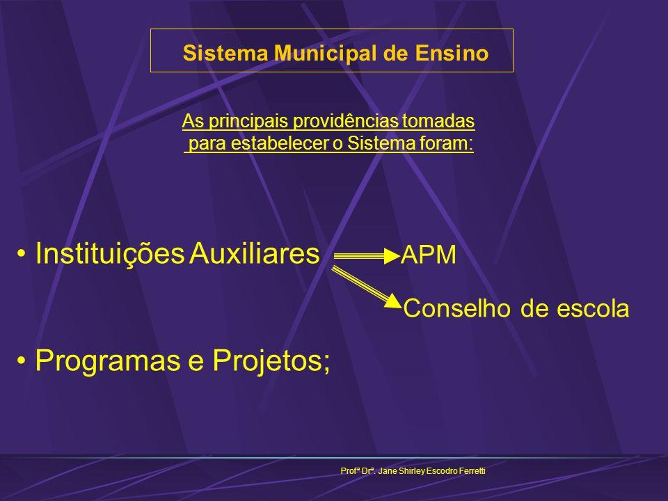 Sistema Municipal de Ensino Profª Drª. Jane Shirley Escodro Ferretti As principais providências tomadas para estabelecer o Sistema foram: Instituições