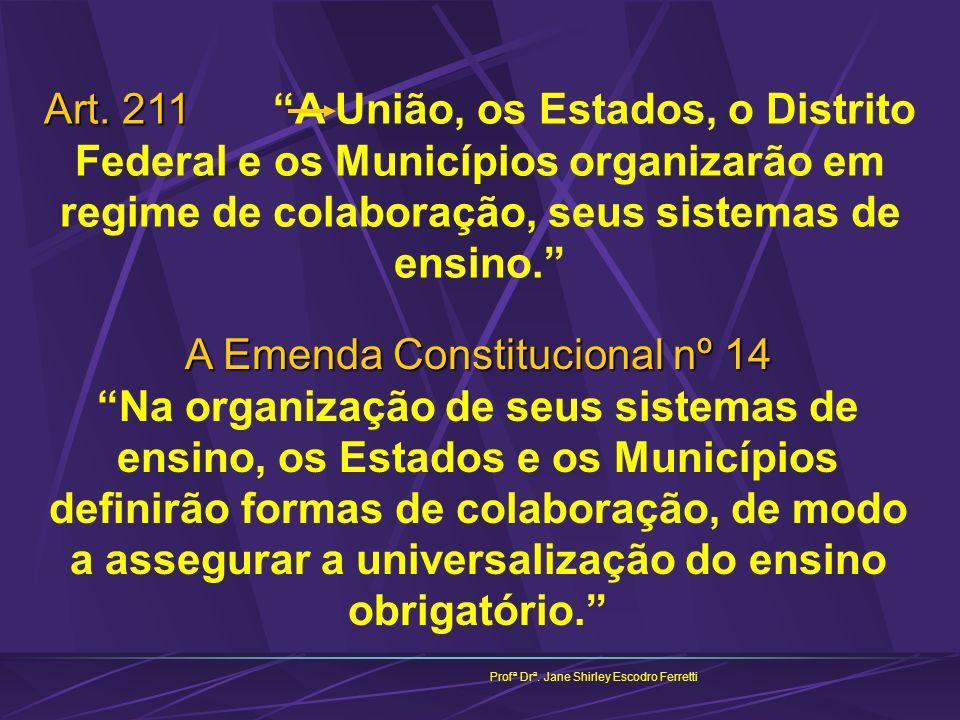 Art. 211 Art. 211 A União, os Estados, o Distrito Federal e os Municípios organizarão em regime de colaboração, seus sistemas de ensino. Profª Drª. Ja