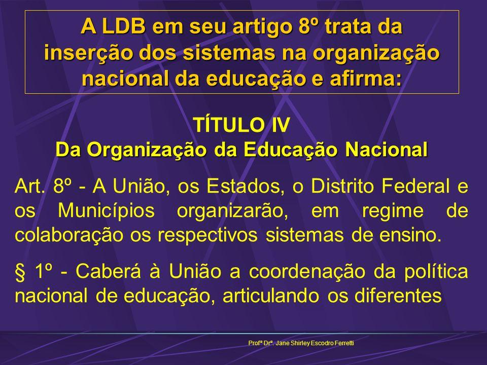 Profª Drª. Jane Shirley Escodro Ferretti A LDB em seu artigo 8º trata da inserção dos sistemas na organização nacional da educação e afirma: Da Organi