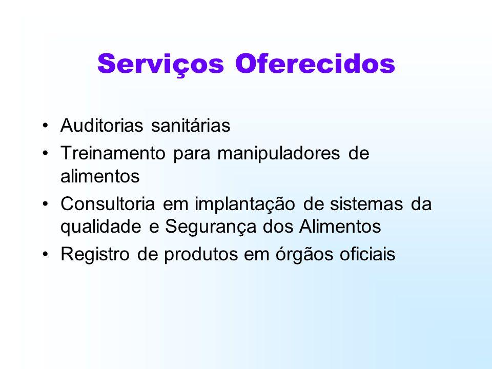 Serviços Oferecidos Auditorias sanitárias Treinamento para manipuladores de alimentos Consultoria em implantação de sistemas da qualidade e Segurança dos Alimentos Registro de produtos em órgãos oficiais