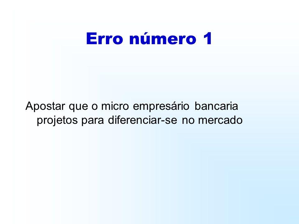 Erro número 1 Apostar que o micro empresário bancaria projetos para diferenciar-se no mercado