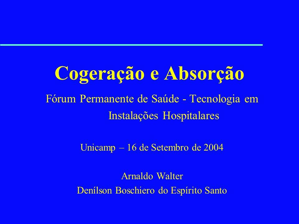Cogeração e Absorção Fórum Permanente de Saúde - Tecnologia em Instalações Hospitalares Unicamp – 16 de Setembro de 2004 Arnaldo Walter Denílson Bosch