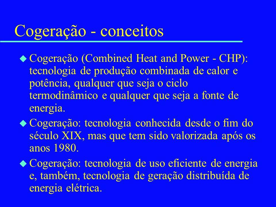 Cogeração - conceitos u Cogeração (Combined Heat and Power - CHP): tecnologia de produção combinada de calor e potência, qualquer que seja o ciclo ter