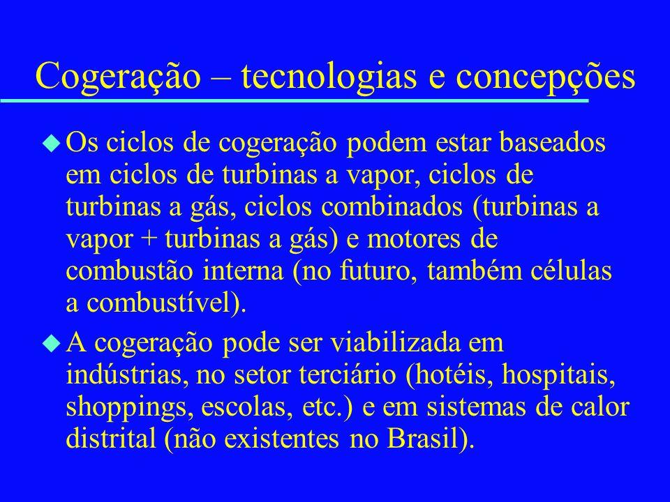 Cogeração – tecnologias e concepções u Os ciclos de cogeração podem estar baseados em ciclos de turbinas a vapor, ciclos de turbinas a gás, ciclos com