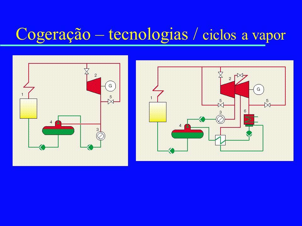 Cogeração – tecnologias / ciclos a vapor