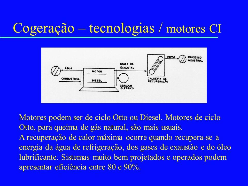 Cogeração – tecnologias / motores CI Motores podem ser de ciclo Otto ou Diesel. Motores de ciclo Otto, para queima de gás natural, são mais usuais. A