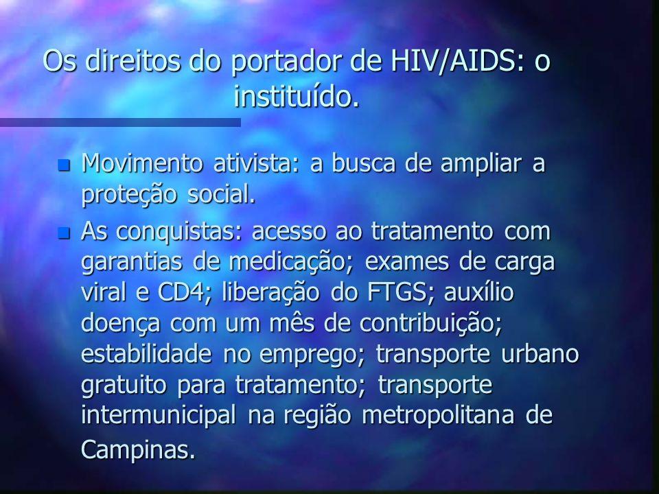 Os direitos do portador de HIV/AIDS: o instituído. n Movimento ativista: a busca de ampliar a proteção social. n As conquistas: acesso ao tratamento c