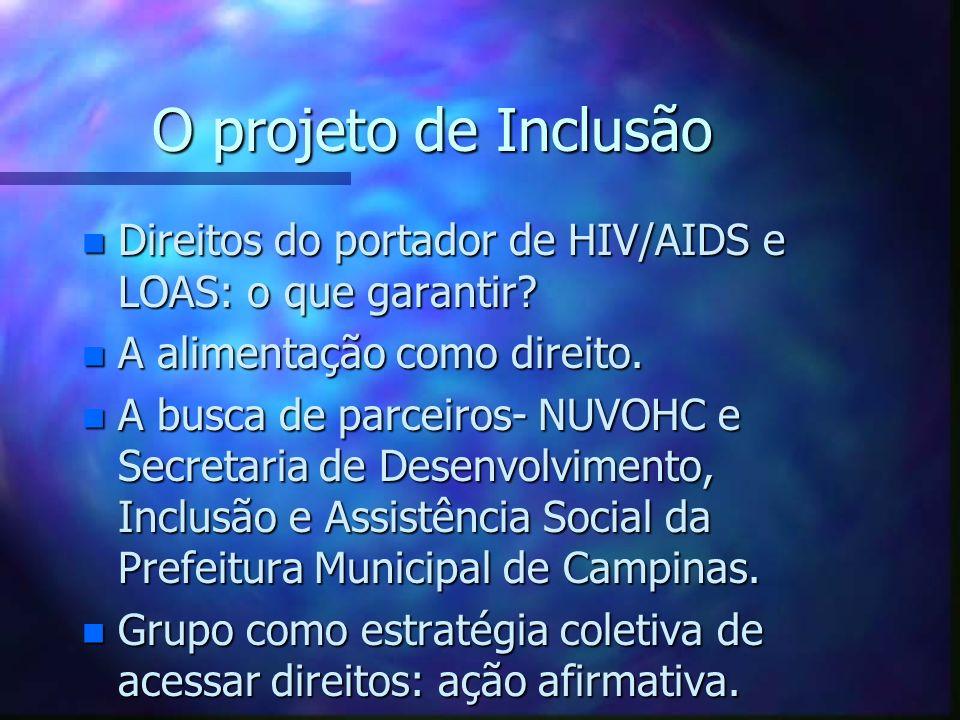 O projeto de Inclusão n Direitos do portador de HIV/AIDS e LOAS: o que garantir? n A alimentação como direito. n A busca de parceiros- NUVOHC e Secret