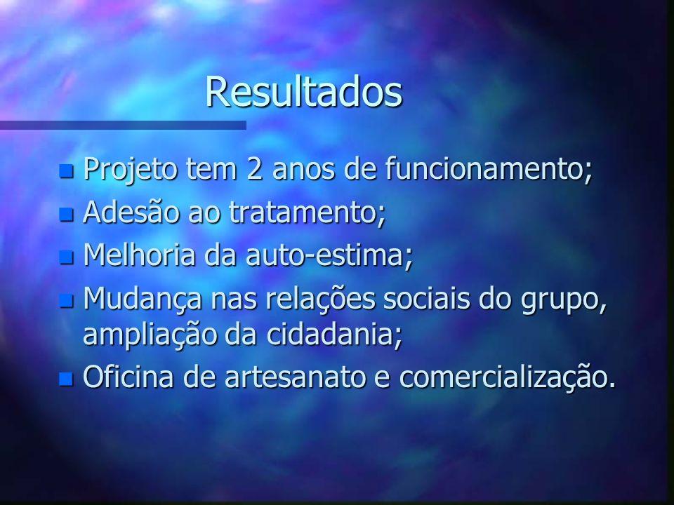 Resultados n Projeto tem 2 anos de funcionamento; n Adesão ao tratamento; n Melhoria da auto-estima; n Mudança nas relações sociais do grupo, ampliaçã