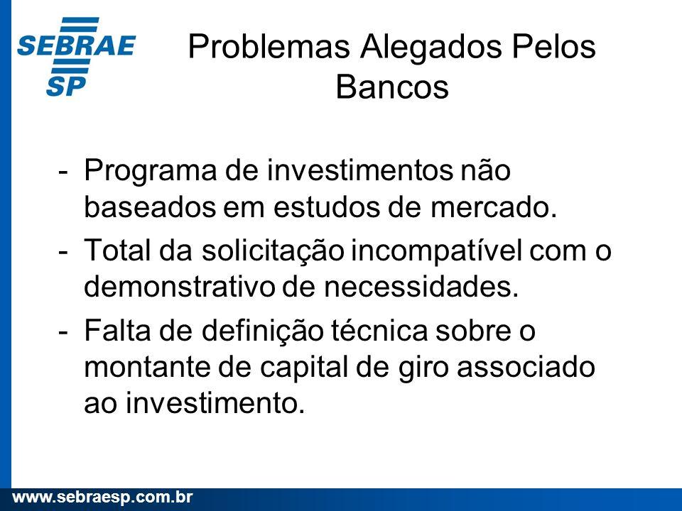 www.sebraesp.com.br -Programa de investimentos não baseados em estudos de mercado. -Total da solicitação incompatível com o demonstrativo de necessida