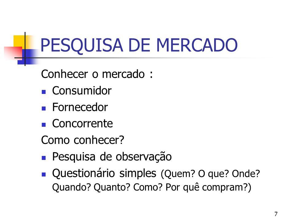 7 PESQUISA DE MERCADO Conhecer o mercado : Consumidor Fornecedor Concorrente Como conhecer? Pesquisa de observação Questionário simples (Quem? O que?
