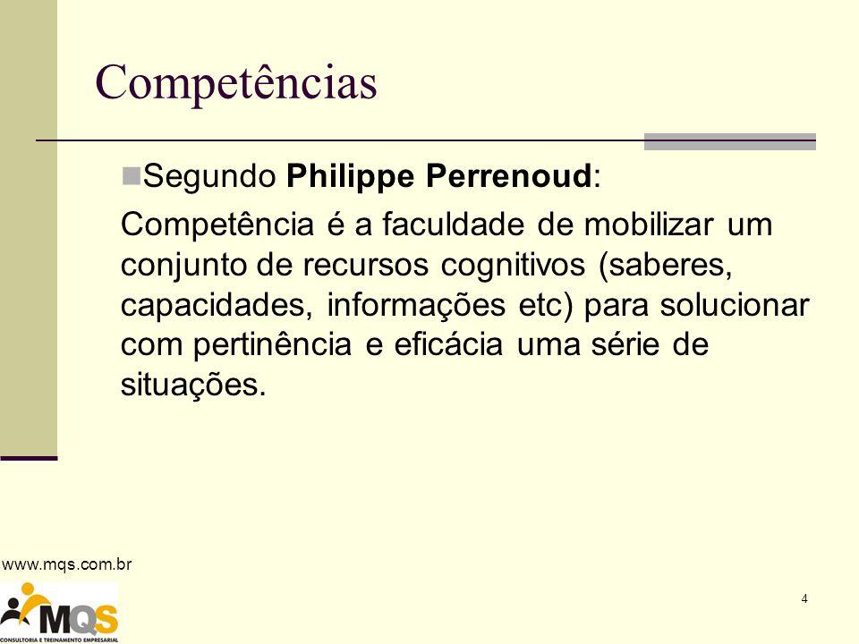 www.mqs.com.br 4 Competências Segundo Philippe Perrenoud: Competência é a faculdade de mobilizar um conjunto de recursos cognitivos (saberes, capacidades, informações etc) para solucionar com pertinência e eficácia uma série de situações.
