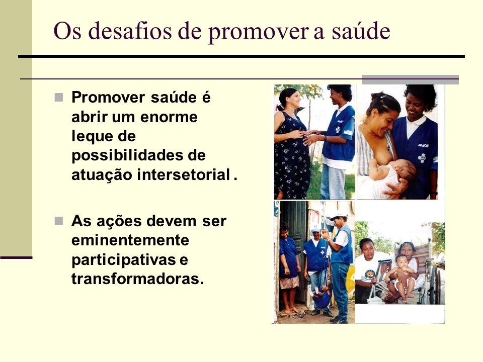Os desafios de promover a saúde Promover saúde é abrir um enorme leque de possibilidades de atuação intersetorial. As ações devem ser eminentemente pa