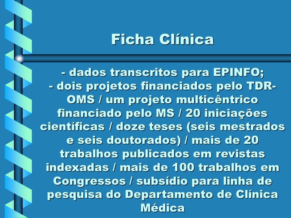Ficha Clínica - dados transcritos para EPINFO; - dois projetos financiados pelo TDR- OMS / um projeto multicêntrico financiado pelo MS / 20 iniciações