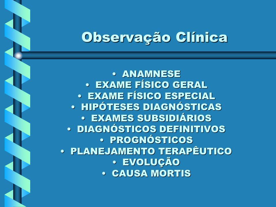 Observação Clínica Observação Clínica ANAMNESEANAMNESE EXAME FÍSICO GERALEXAME FÍSICO GERAL EXAME FÍSICO ESPECIALEXAME FÍSICO ESPECIAL HIPÓTESES DIAGNÓSTICASHIPÓTESES DIAGNÓSTICAS EXAMES SUBSIDIÁRIOSEXAMES SUBSIDIÁRIOS DIAGNÓSTICOS DEFINITIVOSDIAGNÓSTICOS DEFINITIVOS PROGNÓSTICOSPROGNÓSTICOS PLANEJAMENTO TERAPÊUTICOPLANEJAMENTO TERAPÊUTICO EVOLUÇÃOEVOLUÇÃO CAUSA MORTISCAUSA MORTIS
