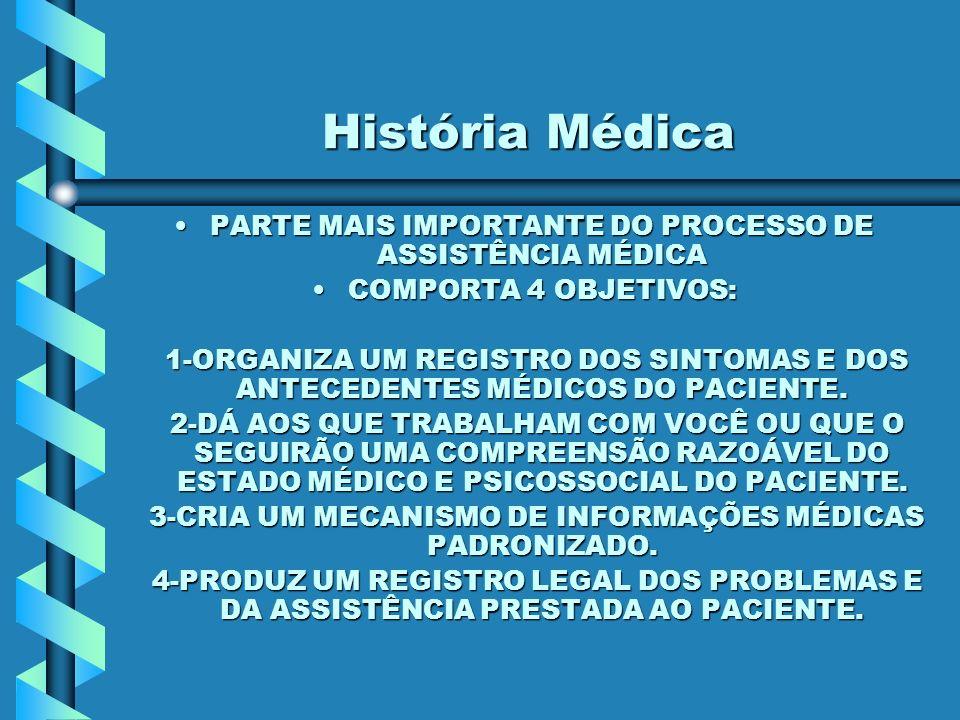 História Médica PARTE MAIS IMPORTANTE DO PROCESSO DE ASSISTÊNCIA MÉDICAPARTE MAIS IMPORTANTE DO PROCESSO DE ASSISTÊNCIA MÉDICA COMPORTA 4 OBJETIVOS:COMPORTA 4 OBJETIVOS: 1-ORGANIZA UM REGISTRO DOS SINTOMAS E DOS ANTECEDENTES MÉDICOS DO PACIENTE.