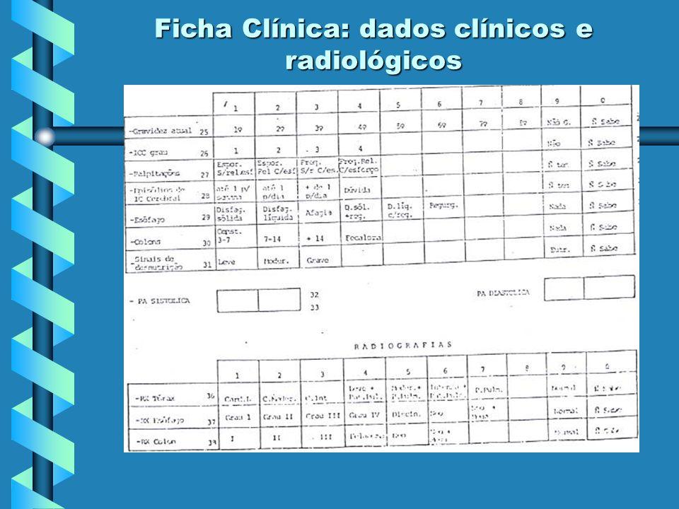 - sinais e sintomas clínicos dos aparelhos cardiovascular e digestivo / estado nutricional / gestação / pressão arterial; - estudo radiológico do aparelho cardiovascular e digestivo