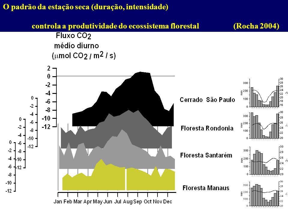 O padrão da estação seca (duração, intensidade) controla a produtividade do ecossistema florestal(Rocha 2004)