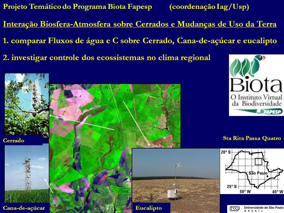 Cerrado Cana-de-açúcarEucalipto Projeto Temático do Programa Biota Fapesp (coordenação Iag/Usp) Interação Biosfera-Atmosfera sobre Cerrados e Mudanças
