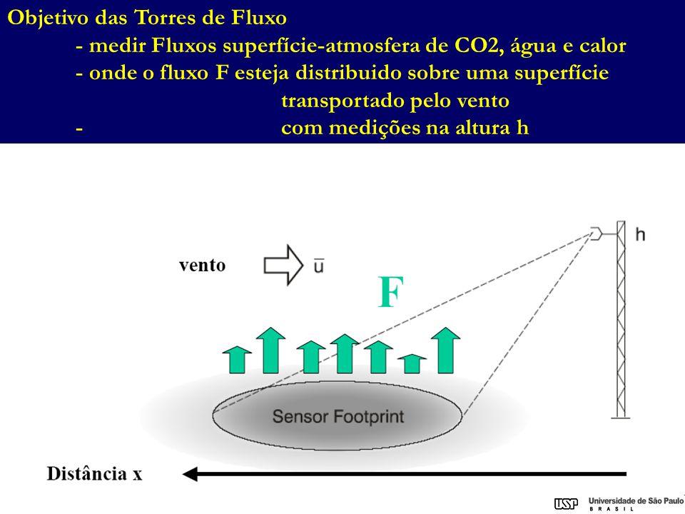 Objetivo das Torres de Fluxo - medir Fluxos superfície-atmosfera de CO2, água e calor - onde o fluxo F esteja distribuido sobre uma superfície transpo
