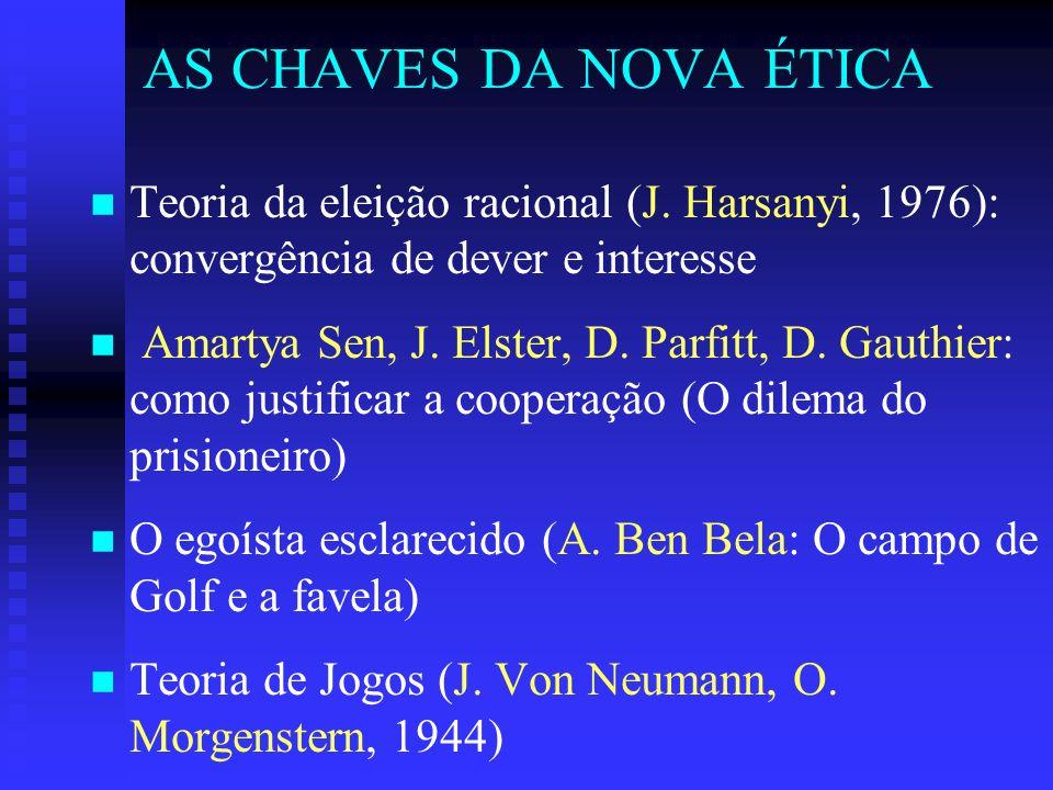 AS CHAVES DA NOVA ÉTICA n n Teoria da eleição racional (J.