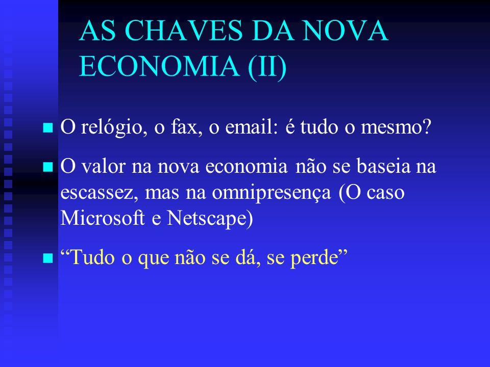 AS CHAVES DA NOVA ECONOMIA (II) n n O relógio, o fax, o email: é tudo o mesmo.