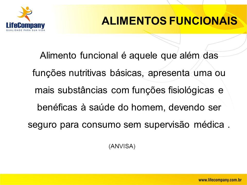 ALIMENTOS FUNCIONAIS Alimento funcional é aquele que além das funções nutritivas básicas, apresenta uma ou mais substâncias com funções fisiológicas e