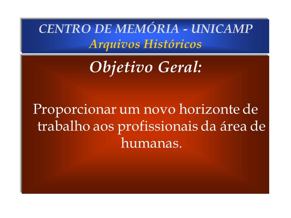 CENTRO DE MEMÓRIA - UNICAMP Arquivos Históricos Objetivos Específicos: Reunir fontes para o estudo da História Cultural e Social; Reunir fontes para o estudo da industrialização do Estado de São Paulo.