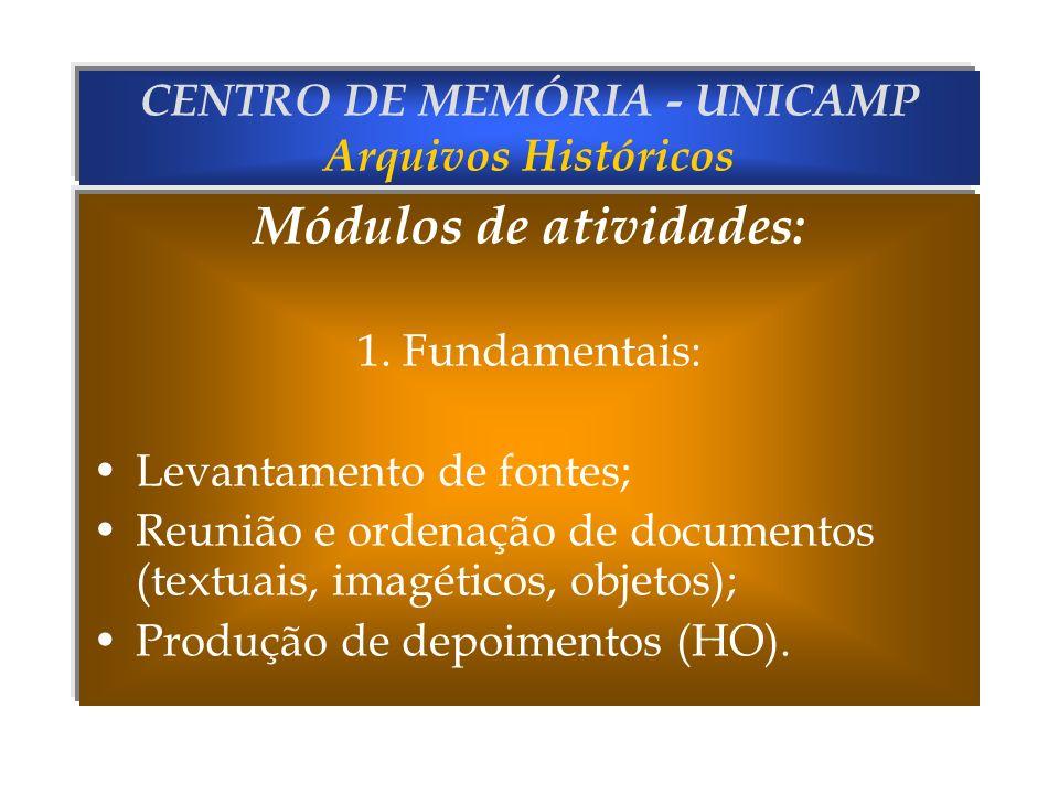 CENTRO DE MEMÓRIA - UNICAMP Arquivos Históricos Módulos de atividades: 1. Fundamentais: Levantamento de fontes; Reunião e ordenação de documentos (tex