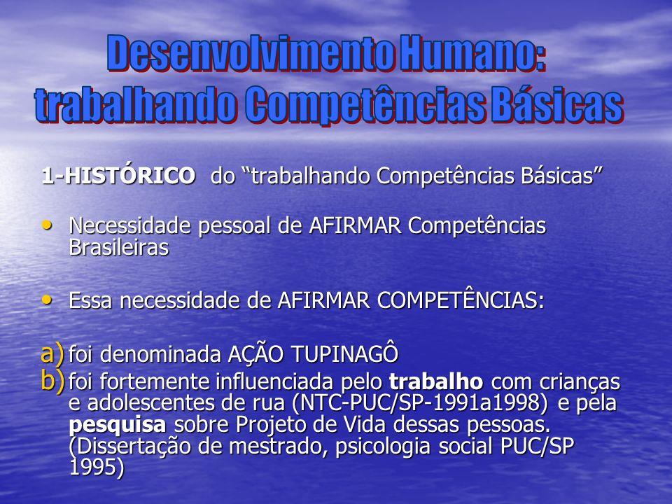 1-HISTÓRICO do trabalhando Competências Básicas Necessidade pessoal de AFIRMAR Competências Brasileiras Necessidade pessoal de AFIRMAR Competências Br