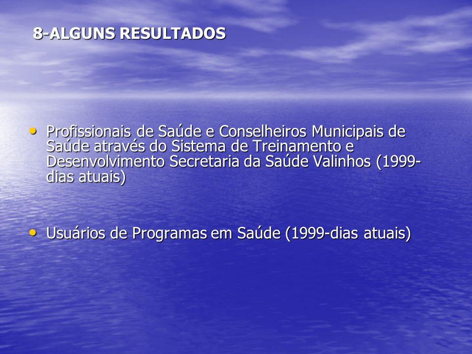 8-ALGUNS RESULTADOS 8-ALGUNS RESULTADOS Profissionais de Saúde e Conselheiros Municipais de Saúde através do Sistema de Treinamento e Desenvolvimento