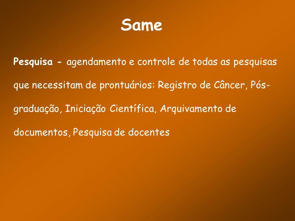 Same Pesquisa - agendamento e controle de todas as pesquisas que necessitam de prontuários: Registro de Câncer, Pós- graduação, Iniciação Científica,