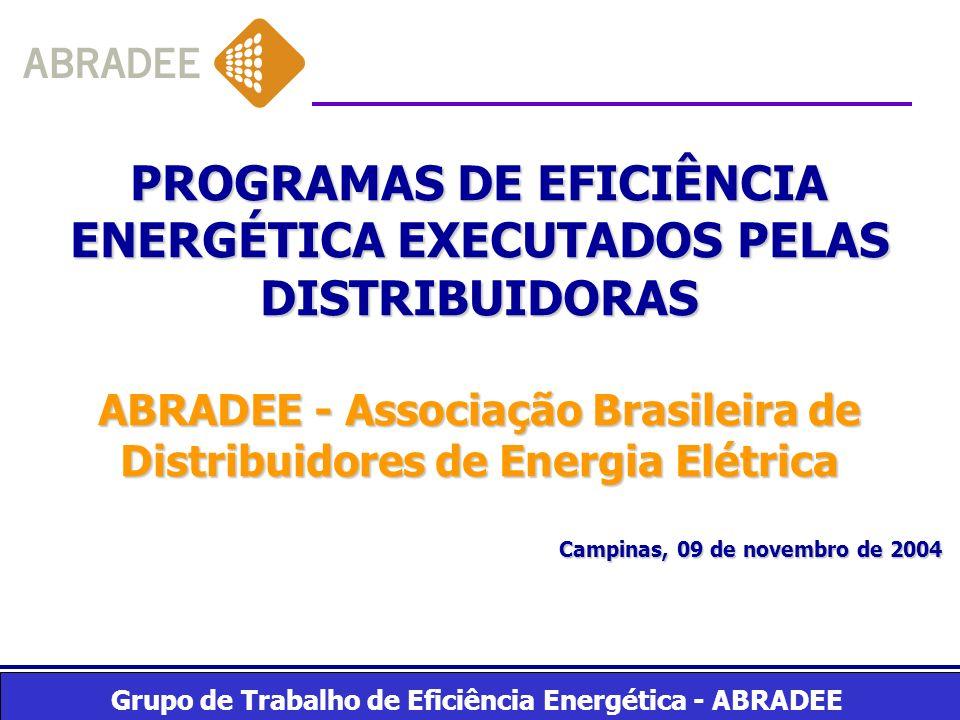 Grupo de Trabalho de Eficiência Energética - ABRADEE Distribuidoras - 64 Distribuidoras - Receita líquida R$ 44 bilhões - 53 milhões de clientes - 290.664 GWh/ano - R$ 220 milhões previsto em Projetos de Eficiência Energética - ciclo 2002/2003 Para as distribuidoras até 2005: Pesquisa e Desenvolvimento: 0,50 % (0,2%-FNDCT, 0,1%-EPE e 0,2%-distrib.) Eficiência Energética : 0,50 % Após 2005: Pesquisa e Desenvolvimento : 0,75 % (0,3-FNDCT, 0,15-EPE e 0,3-Distrib.) Eficiência Energética : 0,25 % 24/07/00LEI 9.991