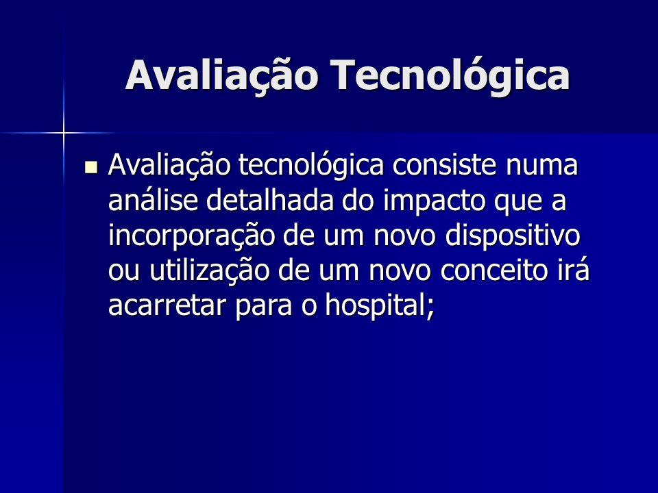 Avaliação Tecnológica Avaliação tecnológica consiste numa análise detalhada do impacto que a incorporação de um novo dispositivo ou utilização de um n