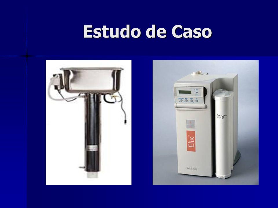 Estudo de Caso Destilador: Destilador: –Potência consumida: 4,0 KW/h; –Desperdício de 90 litros de água por hora; –Vamos admitir que o equipamento fique ligado 8 horas por dia: 32,0 KW/dia, 720 litros de água desperdiçada por dia; –Vamos admitir que o equipamento fique em operação 20 dias em um mês: 640 KW/mês, 14.400 litros de água desperdiçada por mês;