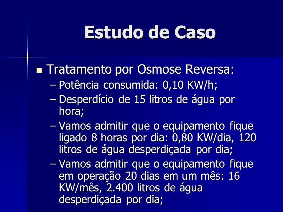 Estudo de Caso Tratamento por Osmose Reversa: Tratamento por Osmose Reversa: –Potência consumida: 0,10 KW/h; –Desperdício de 15 litros de água por hor