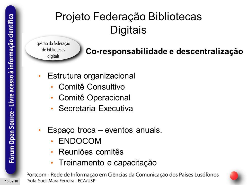 16 de 18 Projeto Federação Bibliotecas Digitais Estrutura organizacional Comitê Consultivo Comitê Operacional Secretaria Executiva Espaço troca – eventos anuais.