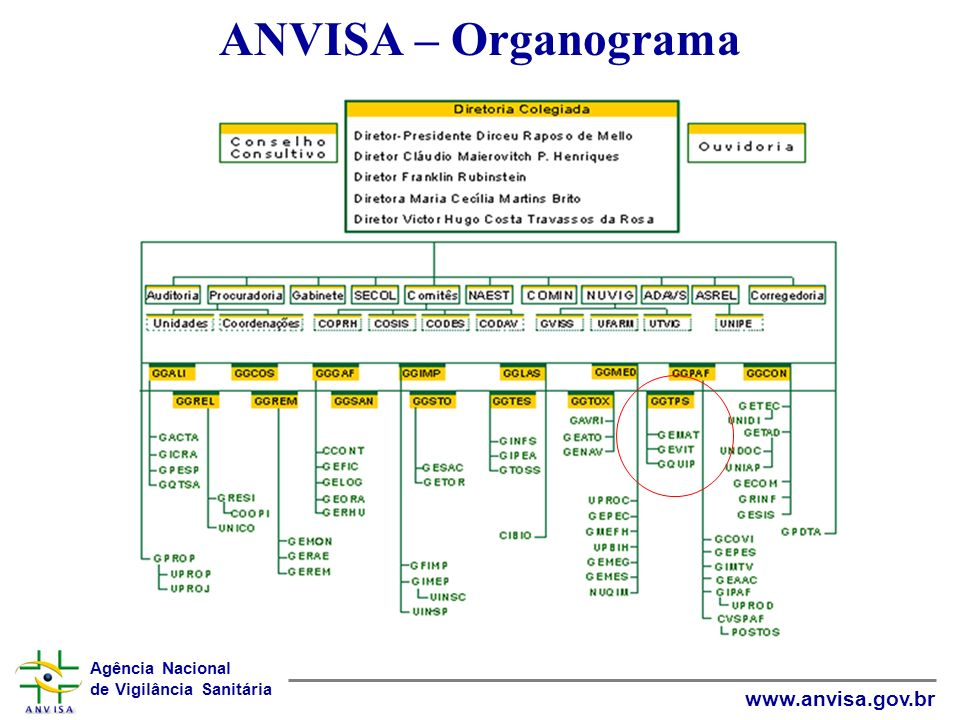 Agência Nacional de Vigilância Sanitária www.anvisa.gov.br ANVISA – Organograma
