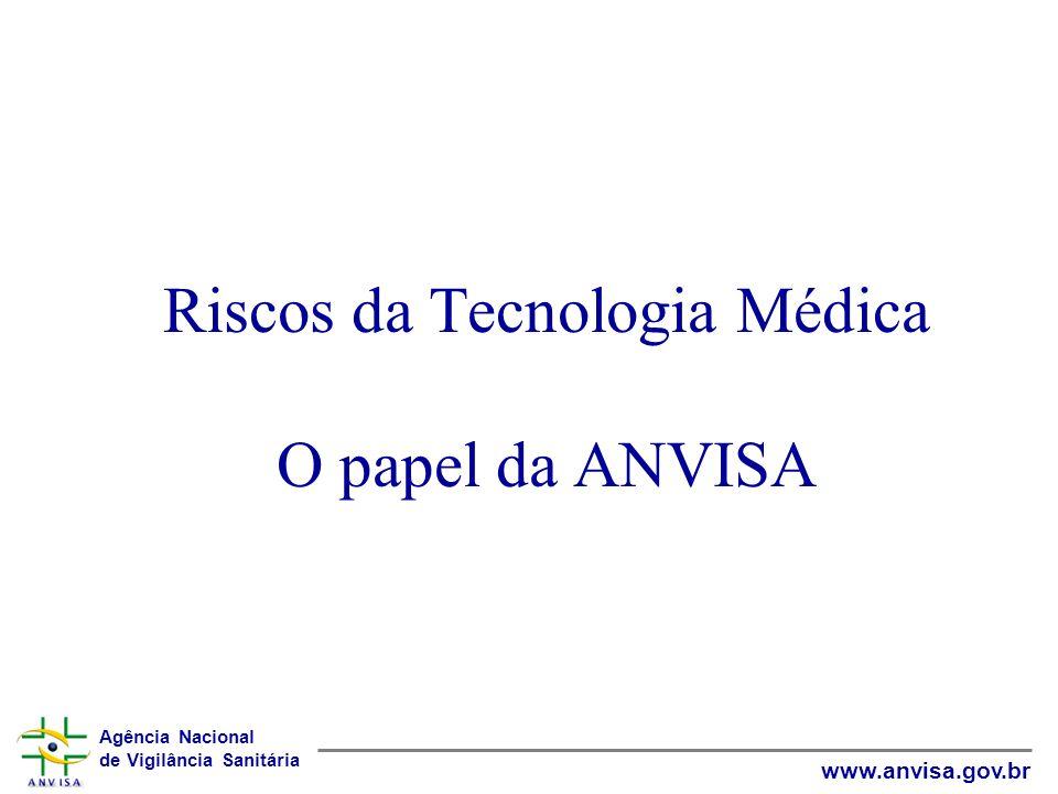 Agência Nacional de Vigilância Sanitária www.anvisa.gov.br Riscos da Tecnologia Médica O papel da ANVISA