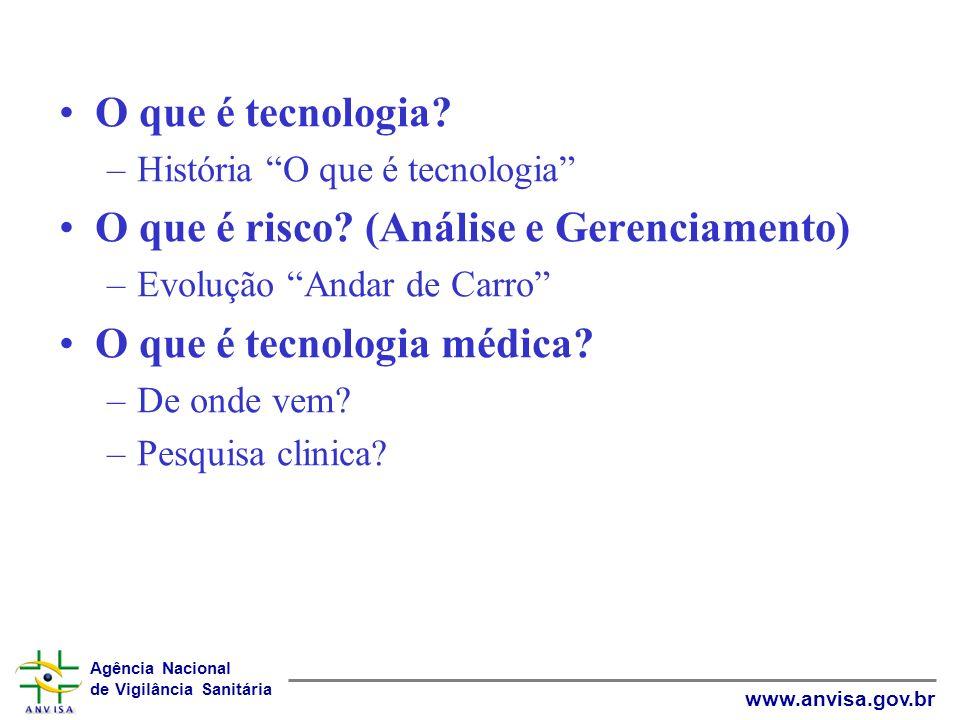 Agência Nacional de Vigilância Sanitária www.anvisa.gov.br O que é tecnologia? –História O que é tecnologia O que é risco? (Análise e Gerenciamento) –