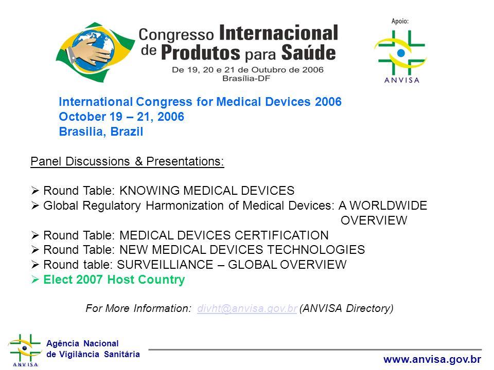 Agência Nacional de Vigilância Sanitária www.anvisa.gov.br International Congress for Medical Devices 2006 October 19 – 21, 2006 Brasilia, Brazil Pane