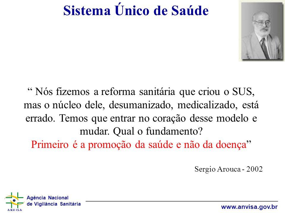 Agência Nacional de Vigilância Sanitária www.anvisa.gov.br Sistema Único de Saúde Nós fizemos a reforma sanitária que criou o SUS, mas o núcleo dele,