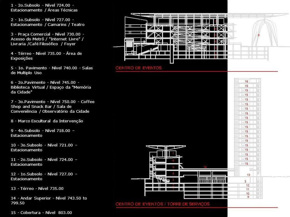1 - 2o.Subsolo - Nível 724.00 - Estacionamento / Áreas Técnicas 2 - 1o.Subsolo - Nível 727.00 - Estacionamento / Camarins / Teatro 3 - Praça Comercial - Nível 730.00 - Acesso do Metrô / Internet Livre / Livraria /Café Filosófico / Foyer 4 - Térreo - Nível 735.00 - Área de Exposições 5 - 1o.