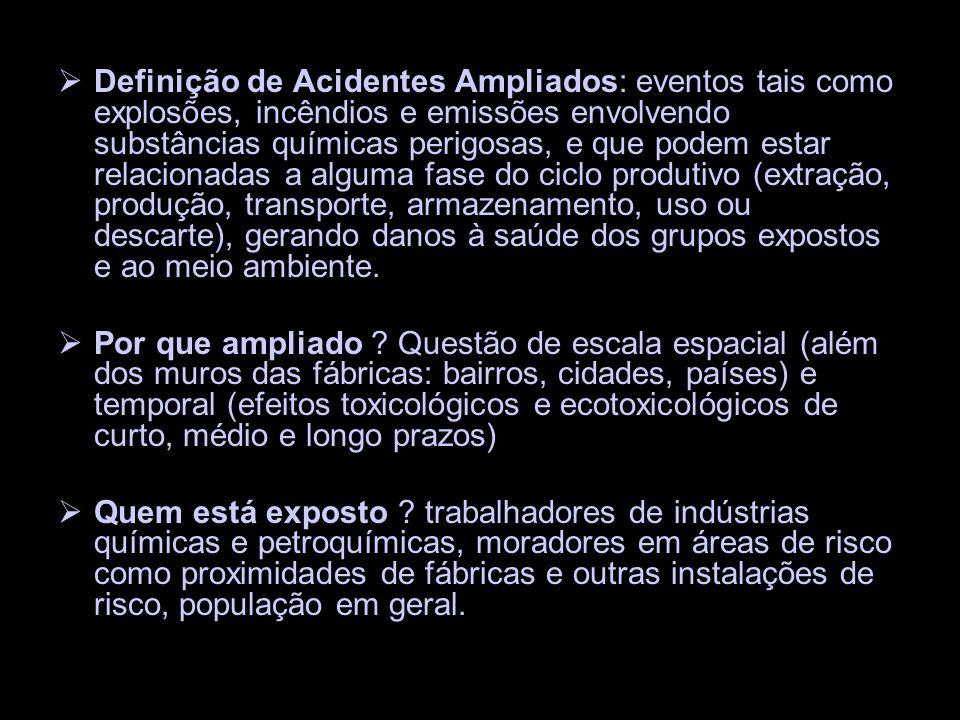 Definição de Acidentes Ampliados: eventos tais como explosões, incêndios e emissões envolvendo substâncias químicas perigosas, e que podem estar relac