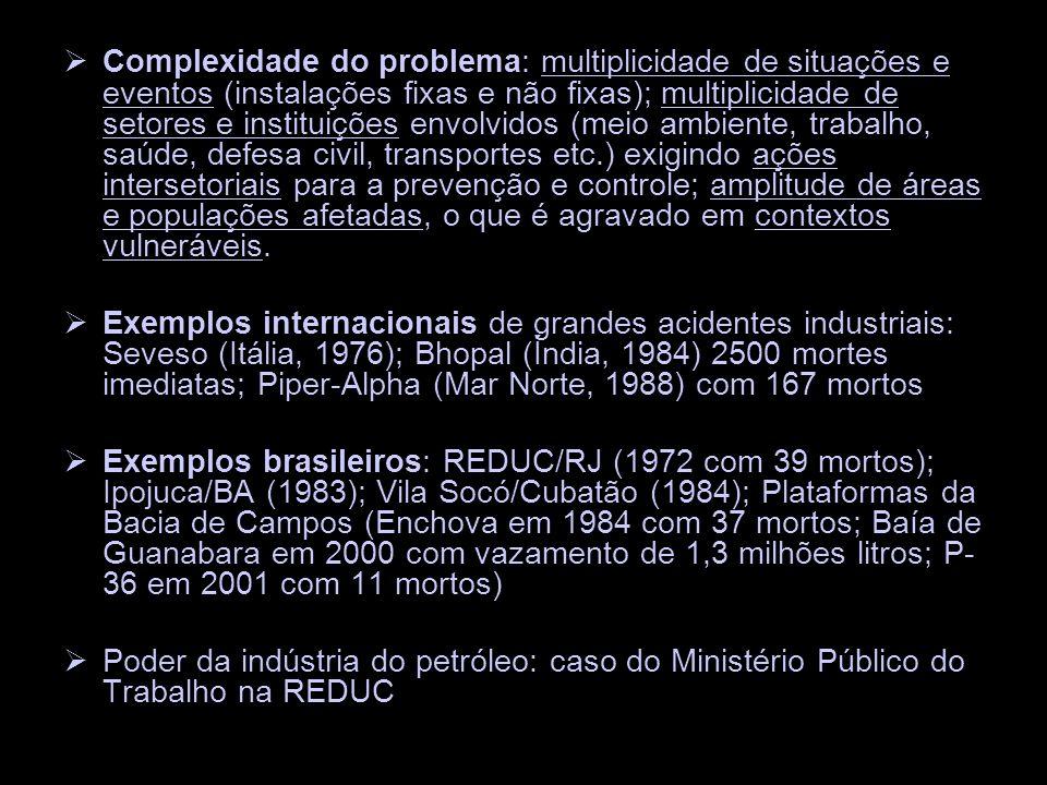 Complexidade do problema: multiplicidade de situações e eventos (instalações fixas e não fixas); multiplicidade de setores e instituições envolvidos (