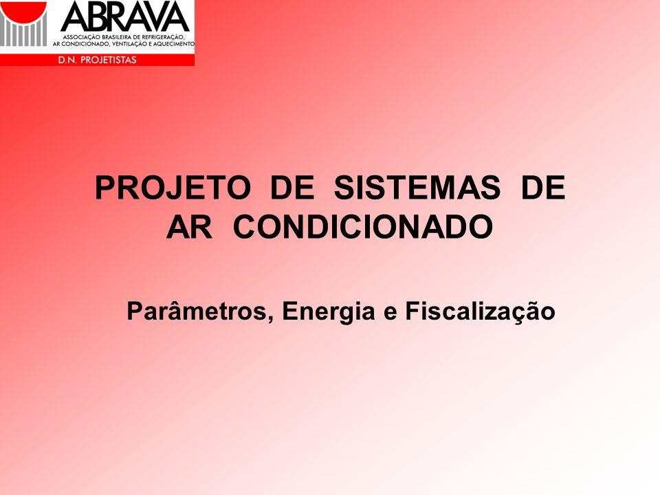 PROJETO DE SISTEMAS DE AR CONDICIONADO Parâmetros, Energia e Fiscalização