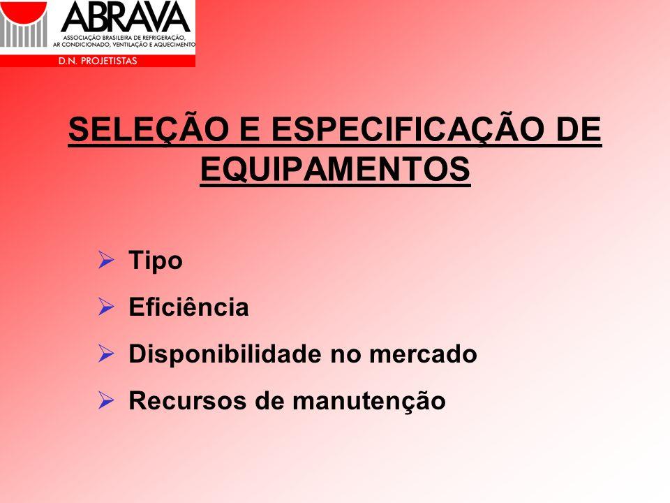 SELEÇÃO E ESPECIFICAÇÃO DE EQUIPAMENTOS Tipo Eficiência Disponibilidade no mercado Recursos de manutenção